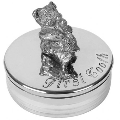 Pewter Teddy First Tooth Trinket Box Christening Gift